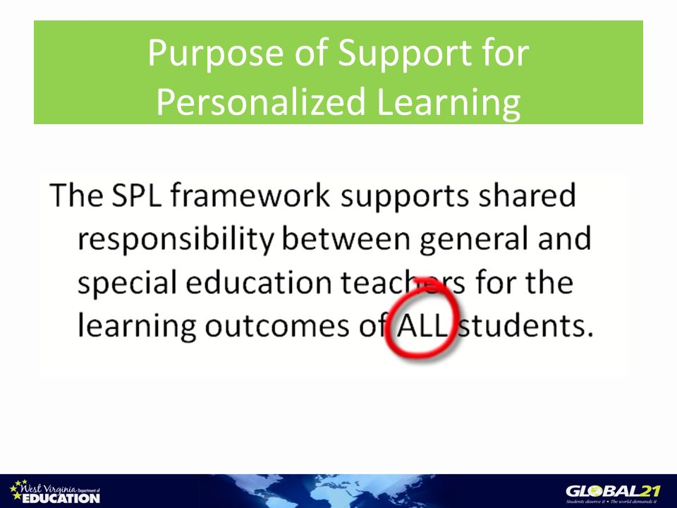 Purpose of SPL Purpose of Support for Personalized Learning