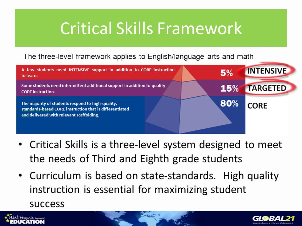 Critical Skills Framework Critical Skills is a three-level system designed to meet the needs of Third and Eighth grade students Curriculum is based on state-standards.