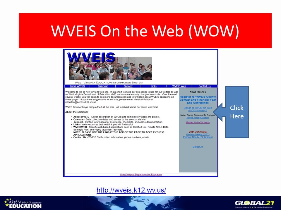 Access the WOW System http://wveis.k12.wv.us/ Click Here WVEIS On the Web (WOW)