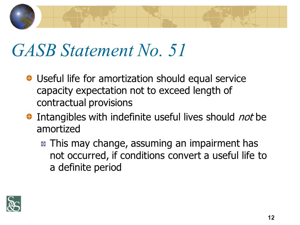 GASB Statement No. 51 Useful life for amortization should equal service capacity expectation not to exceed length of contractual provisions Intangible