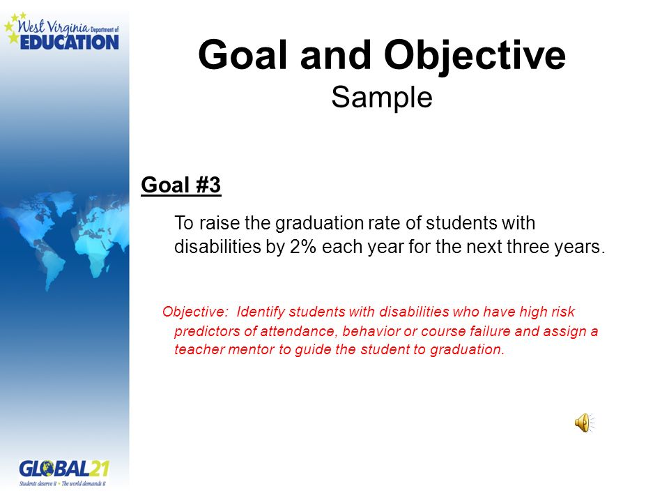 Goal and Objective Sample Goal #3 To raise the graduation rate of students with disabilities by 2% each year for the next three years.