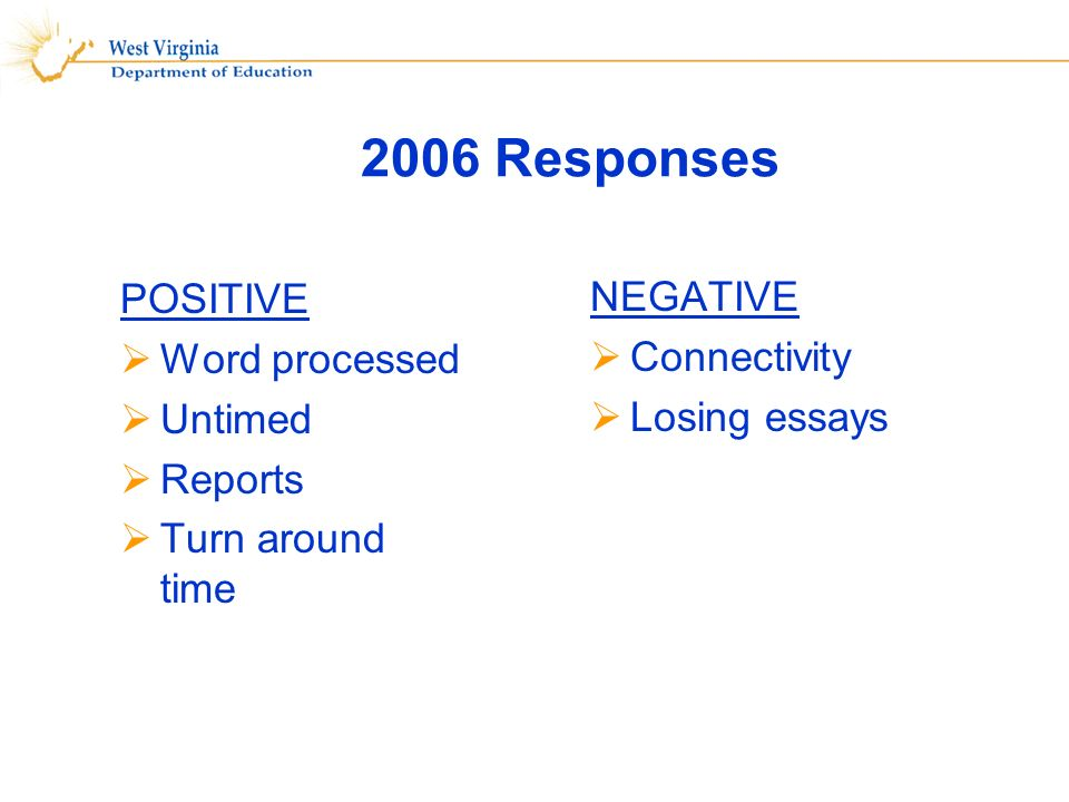 2006 Responses POSITIVE Word processed Untimed Reports Turn around time NEGATIVE Connectivity Losing essays