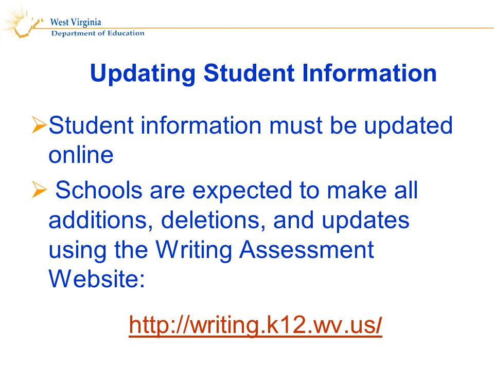 Updating Student Information Student information must be updated online Schools are expected to make all additions, deletions, and updates using the Writing Assessment Website: http://writing.k12.wv.us /