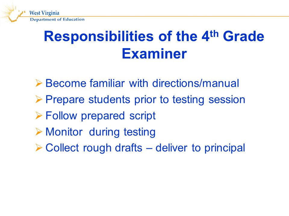 Responsibilities of the 4 th Grade Examiner Become familiar with directions/manual Prepare students prior to testing session Follow prepared script Monitor during testing Collect rough drafts – deliver to principal