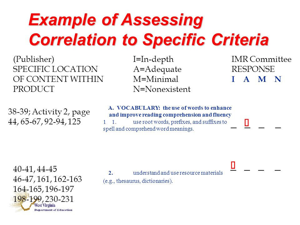 Example of Assessing Correlation to Specific Criteria (Publisher)I=In-depth IMR Committee SPECIFIC LOCATIONA=Adequate RESPONSE OF CONTENT WITHINM=Minimal I A M N PRODUCTN=Nonexistent A.