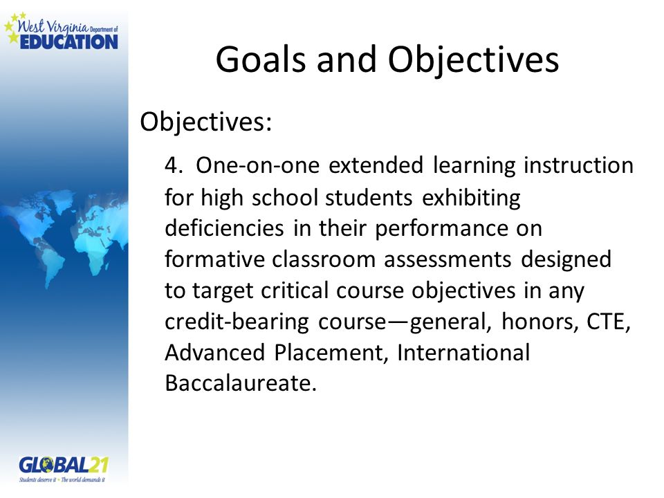 Goals and Objectives Objectives: 4.