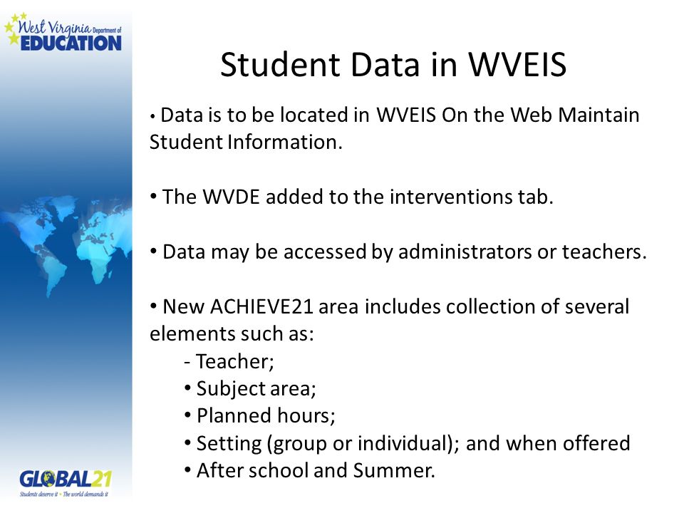 Data is to be located in WVEIS On the Web Maintain Student Information.