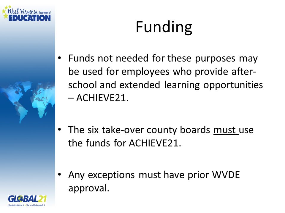 Funding WVDE recommends that ACHIEVE21 teachers be paid $30 / hour for a maximum of 200 hours ($6,000).