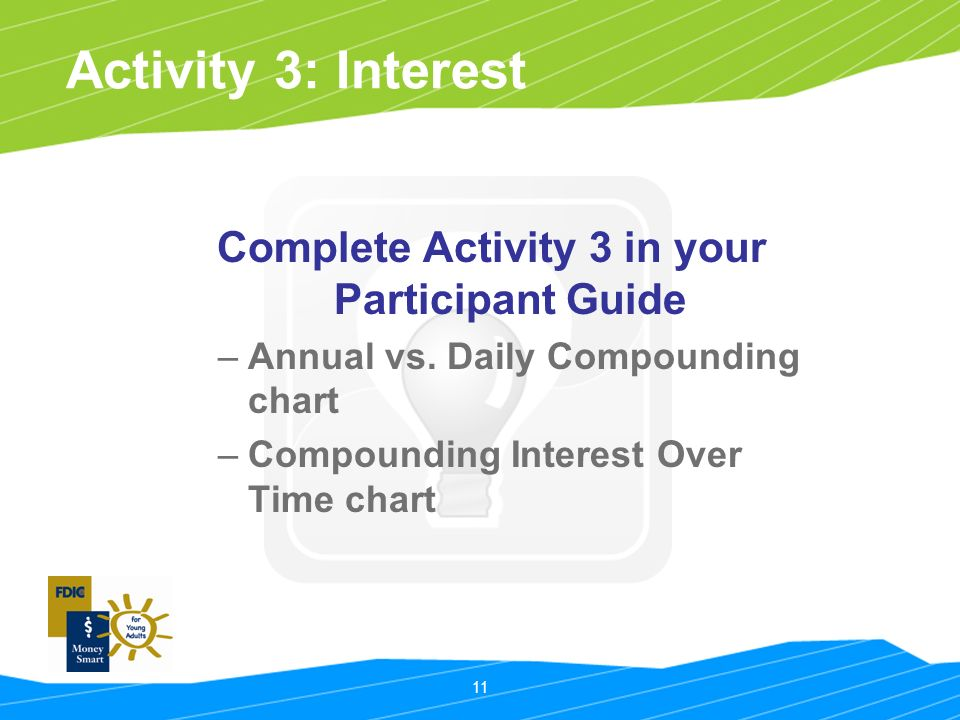 11 Activity 3: Interest Complete Activity 3 in your Participant Guide –Annual vs.