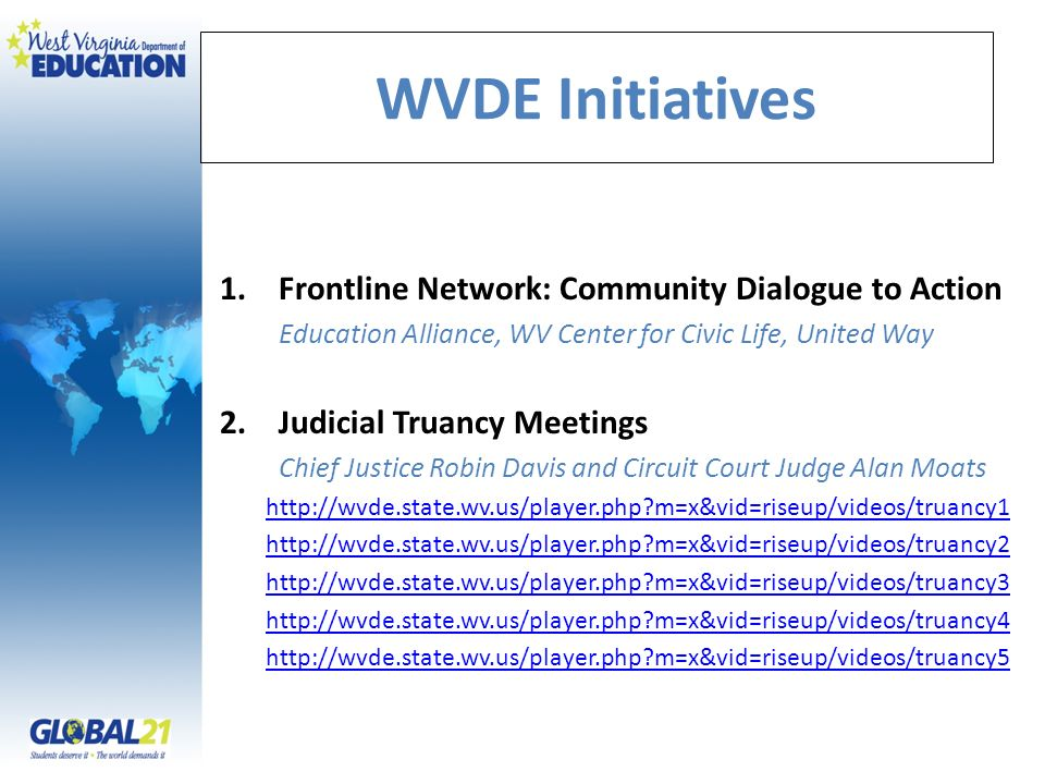 WVDE Initiatives 1.Frontline Network: Community Dialogue to Action Education Alliance, WV Center for Civic Life, United Way 2.Judicial Truancy Meetings Chief Justice Robin Davis and Circuit Court Judge Alan Moats http://wvde.state.wv.us/player.php?m=x&vid=riseup/videos/truancy1 http://wvde.state.wv.us/player.php?m=x&vid=riseup/videos/truancy2 http://wvde.state.wv.us/player.php?m=x&vid=riseup/videos/truancy3 http://wvde.state.wv.us/player.php?m=x&vid=riseup/videos/truancy4 http://wvde.state.wv.us/player.php?m=x&vid=riseup/videos/truancy5