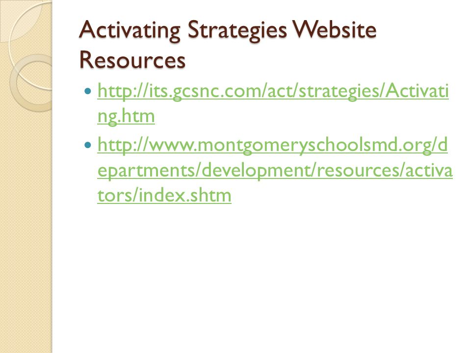 Activating Strategies Website Resources http://its.gcsnc.com/act/strategies/Activati ng.htm http://its.gcsnc.com/act/strategies/Activati ng.htm http:/