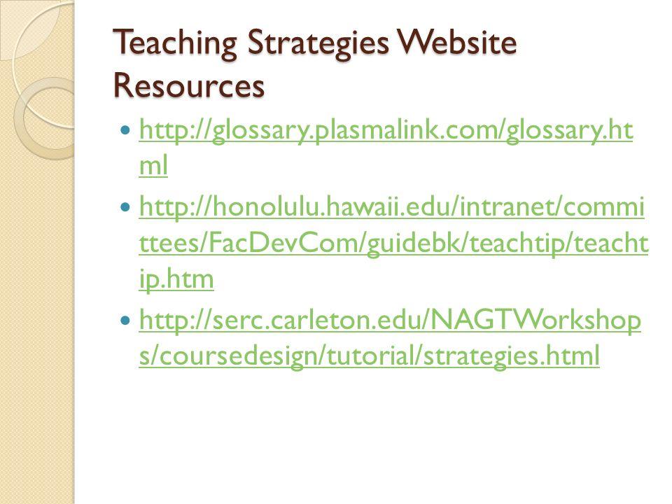 Teaching Strategies Website Resources http://glossary.plasmalink.com/glossary.ht ml http://glossary.plasmalink.com/glossary.ht ml http://honolulu.hawa