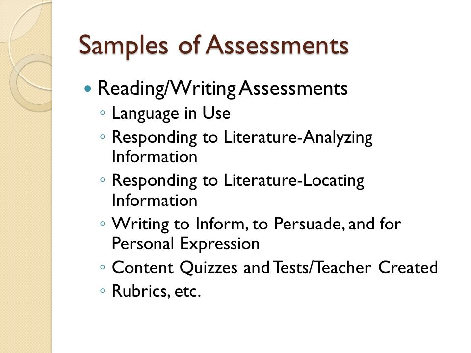 Samples of Assessments Reading/Writing Assessments Language in Use Responding to Literature-Analyzing Information Responding to Literature-Locating In