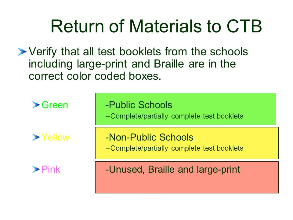 Return of Materials to CTB Verify that all test booklets from the schools including large-print and Braille are in the correct color coded boxes.
