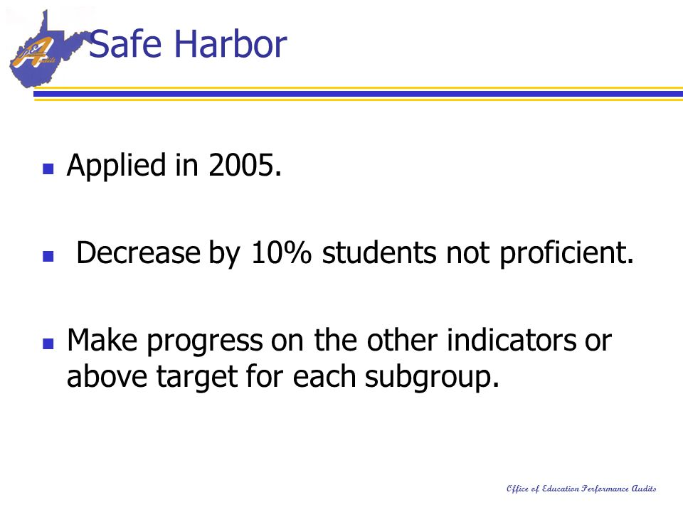 Office of Education Performance Audits Safe Harbor Applied in 2005.