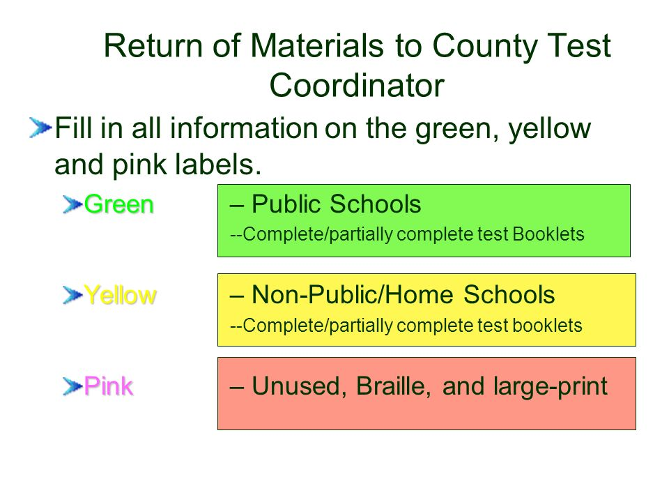 Return of Materials to County Test Coordinator Fill in all information on the green, yellow and pink labels.