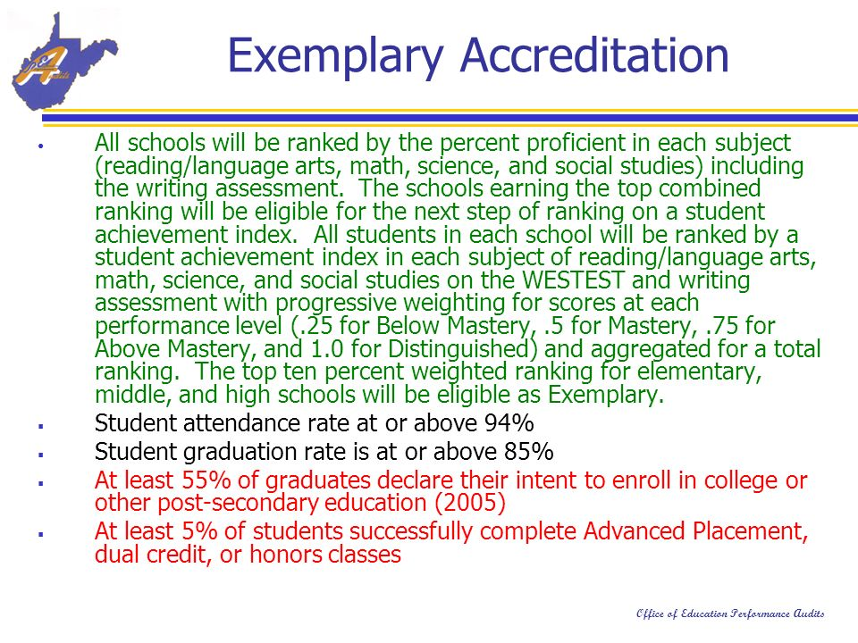 Office of Education Performance Audits Exemplary Accreditation All schools will be ranked by the percent proficient in each subject (reading/language arts, math, science, and social studies) including the writing assessment.