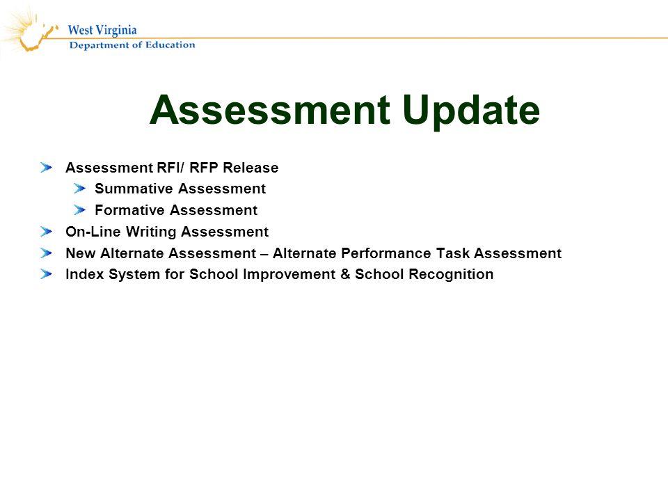 Assessment Update Assessment RFI/ RFP Release Summative Assessment Formative Assessment On-Line Writing Assessment New Alternate Assessment – Alternate Performance Task Assessment Index System for School Improvement & School Recognition