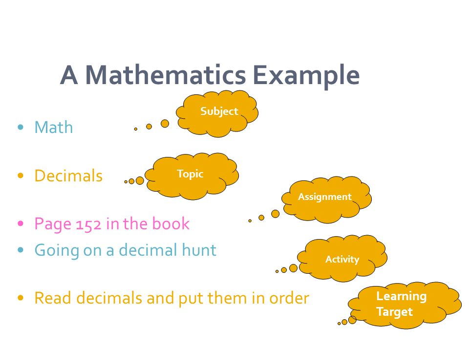 A Mathematics Example Math Decimals Page 152 in the book Going on a decimal hunt Read decimals and put them in order Subject Topic Assignment Activity Learning Target