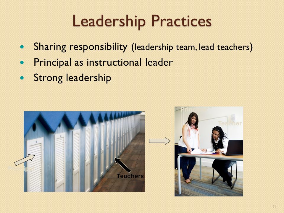 Leadership Practices Sharing responsibility ( leadership team, lead teachers ) Principal as instructional leader Strong leadership 11 Principal Teachers Principal Teacher
