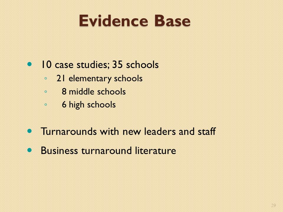 Evidence Base 10 case studies; 35 schools 21 elementary schools 8 middle schools 6 high schools Turnarounds with new leaders and staff Business turnaround literature 29