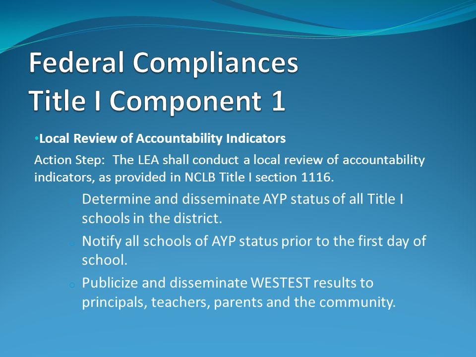 Local Review of Accountability Indicators Action Step: The LEA shall conduct a local review of accountability indicators, as provided in NCLB Title I