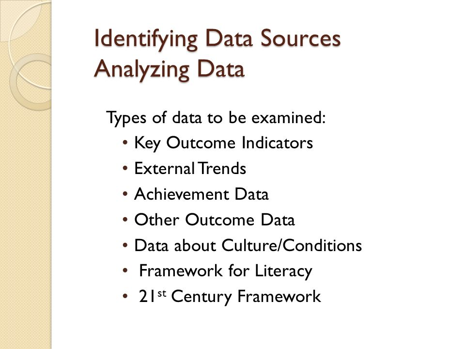 Identifying Data Sources Analyzing Data Types of data to be examined: Key Outcome Indicators External Trends Achievement Data Other Outcome Data Data