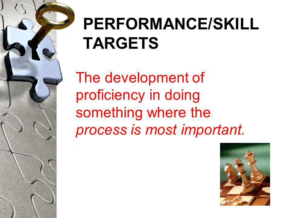 PERFORMANCE/SKILL TARGETS The development of proficiency in doing something where the process is most important.