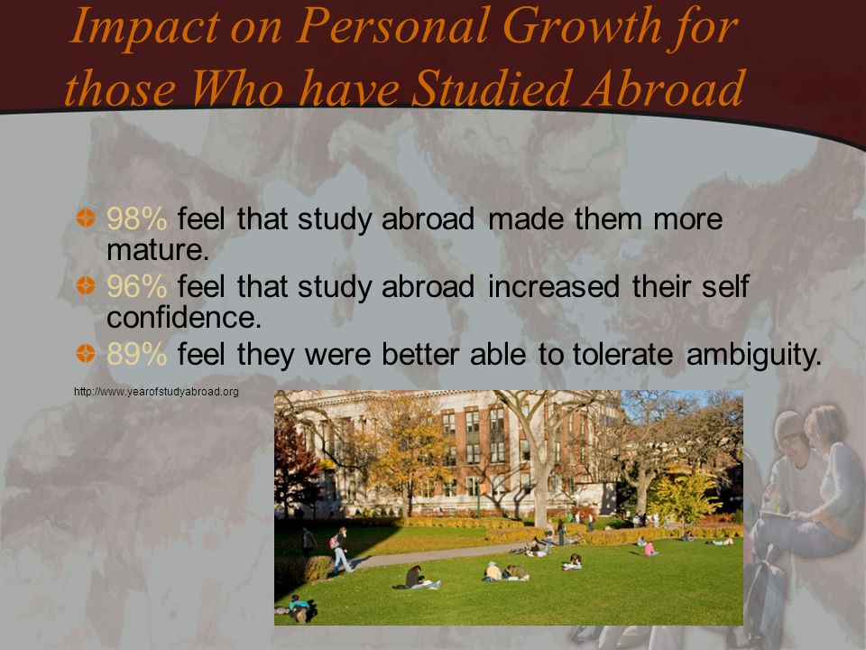 Impact on Personal Growth for those Who have Studied Abroad 98% feel that study abroad made them more mature. 96% feel that study abroad increased the