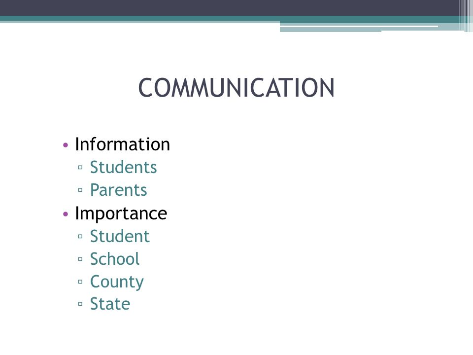 COMMUNICATION Information Students Parents Importance Student School County State