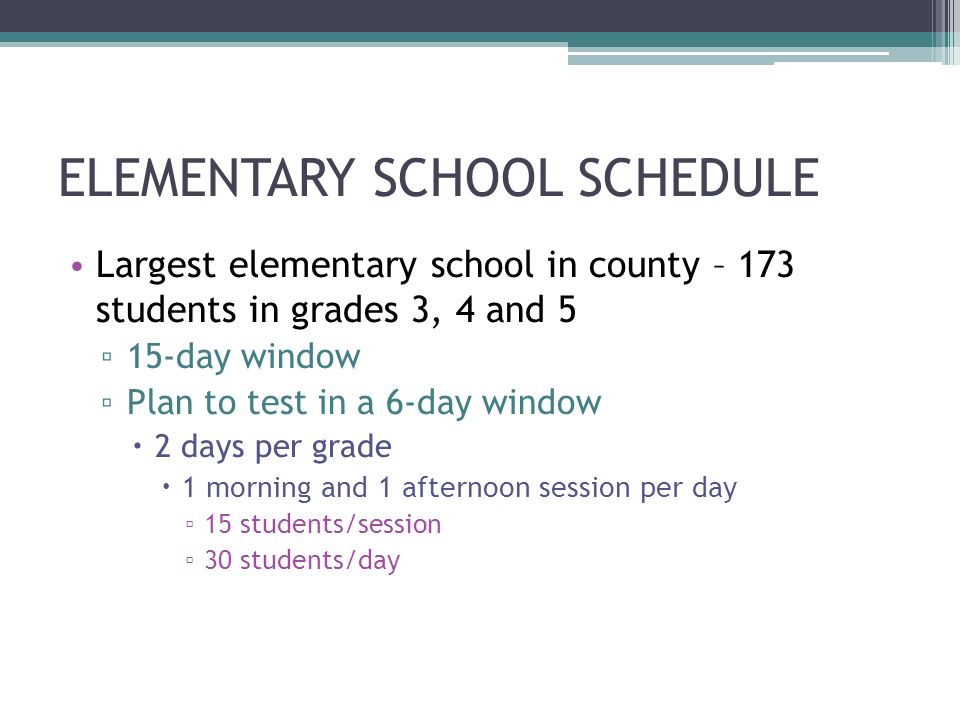 ELEMENTARY SCHOOL SCHEDULE Largest elementary school in county – 173 students in grades 3, 4 and 5 15-day window Plan to test in a 6-day window 2 days