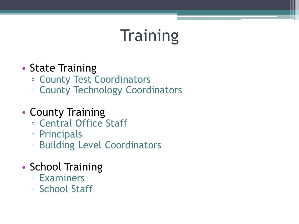Training State Training County Test Coordinators County Technology Coordinators County Training Central Office Staff Principals Building Level Coordin