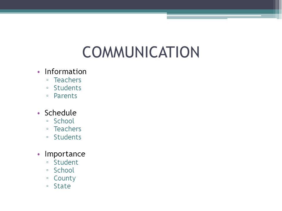 COMMUNICATION Information Teachers Students Parents Schedule School Teachers Students Importance Student School County State