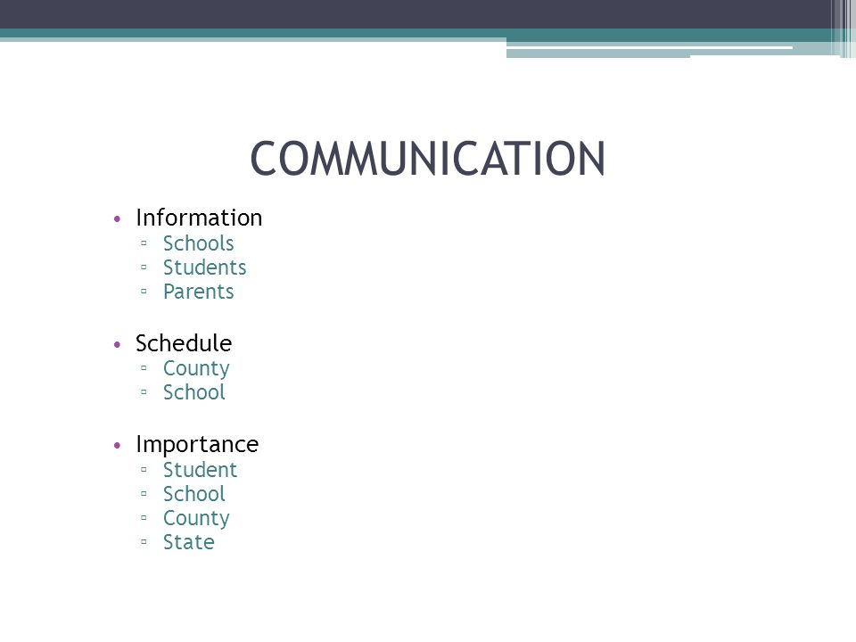 COMMUNICATION Information Schools Students Parents Schedule County School Importance Student School County State