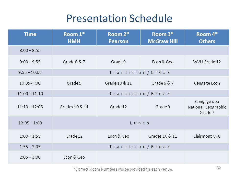 32 TimeRoom 1* HMH Room 2* Pearson Room 3* McGraw Hill Room 4* Others 8:00 – 8:55 9:00 – 9:55Grade 6 & 7Grade 9Econ & GeoWVU Grade 12 9:55 – 10:05Tran