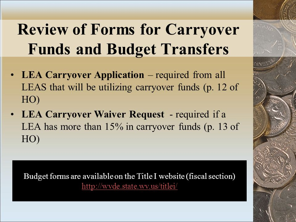 Review of Forms for Carryover Funds and Budget Transfers LEA Carryover Application – required from all LEAS that will be utilizing carryover funds (p.