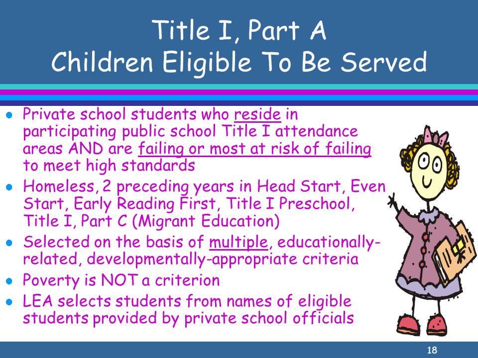 18 Title I, Part A Children Eligible To Be Served l Private school students who reside in participating public school Title I attendance areas AND are failing or most at risk of failing to meet high standards l Homeless, 2 preceding years in Head Start, Even Start, Early Reading First, Title I Preschool, Title I, Part C (Migrant Education) l Selected on the basis of multiple, educationally- related, developmentally-appropriate criteria l Poverty is NOT a criterion l LEA selects students from names of eligible students provided by private school officials