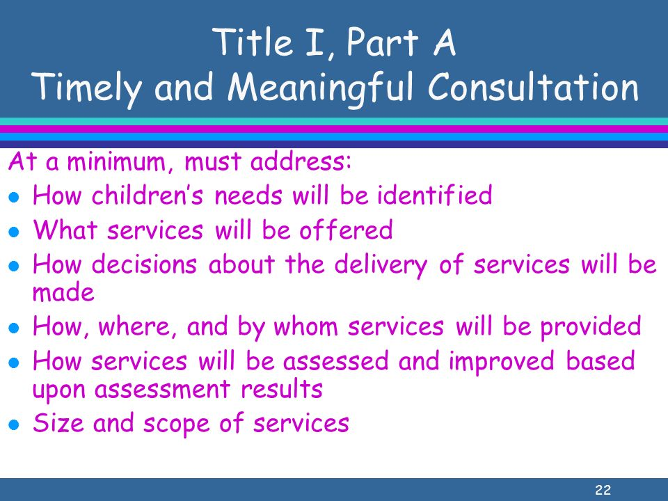 22 Title I, Part A Timely and Meaningful Consultation At a minimum, must address: l How childrens needs will be identified l What services will be offered l How decisions about the delivery of services will be made l How, where, and by whom services will be provided l How services will be assessed and improved based upon assessment results l Size and scope of services