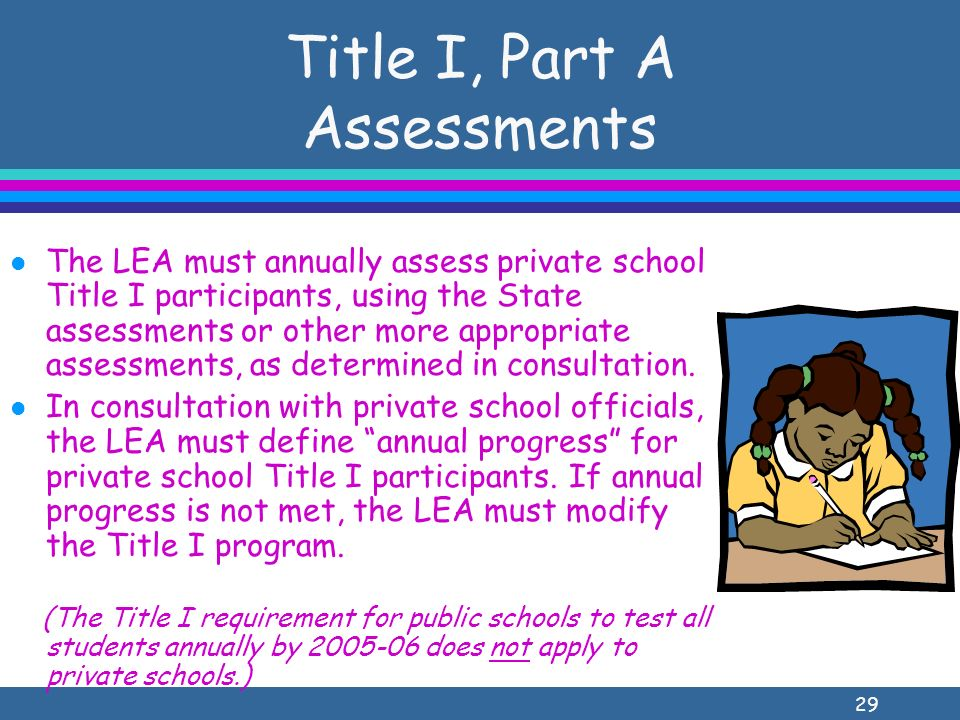 29 Title I, Part A Assessments l The LEA must annually assess private school Title I participants, using the State assessments or other more appropriate assessments, as determined in consultation.