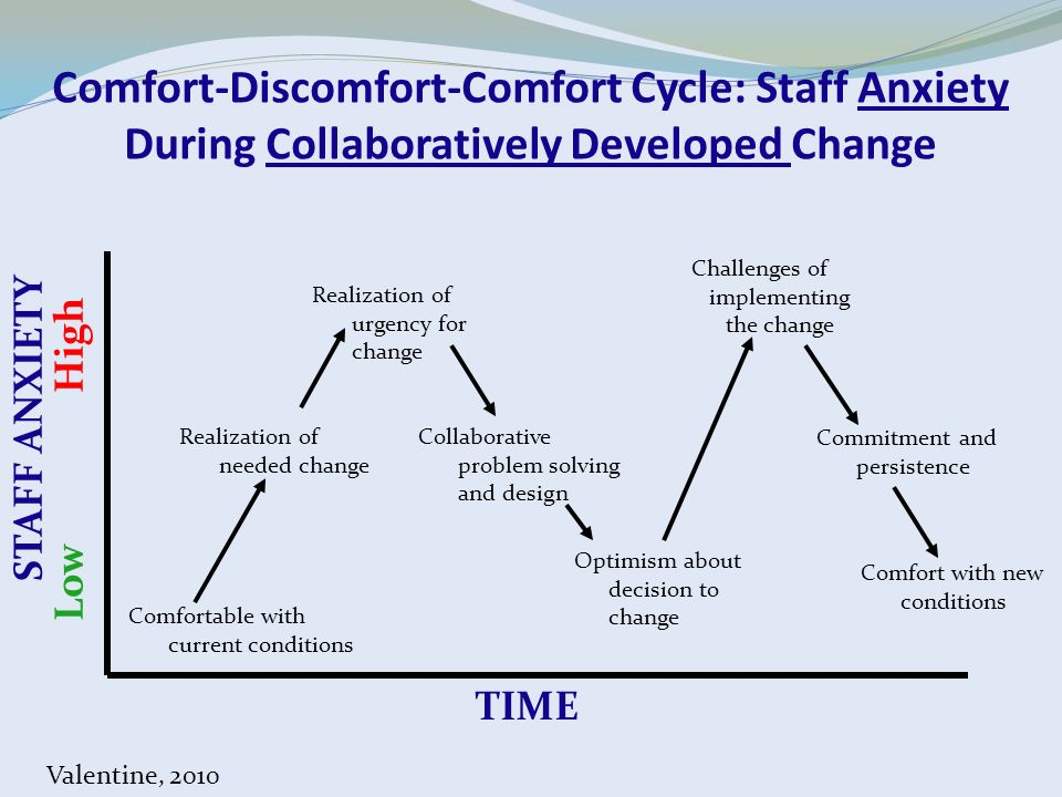 Comfort-Discomfort-Comfort Cycle: Staff Anxiety During Collaboratively Developed Change Comfortable with current conditions Realization of needed chan