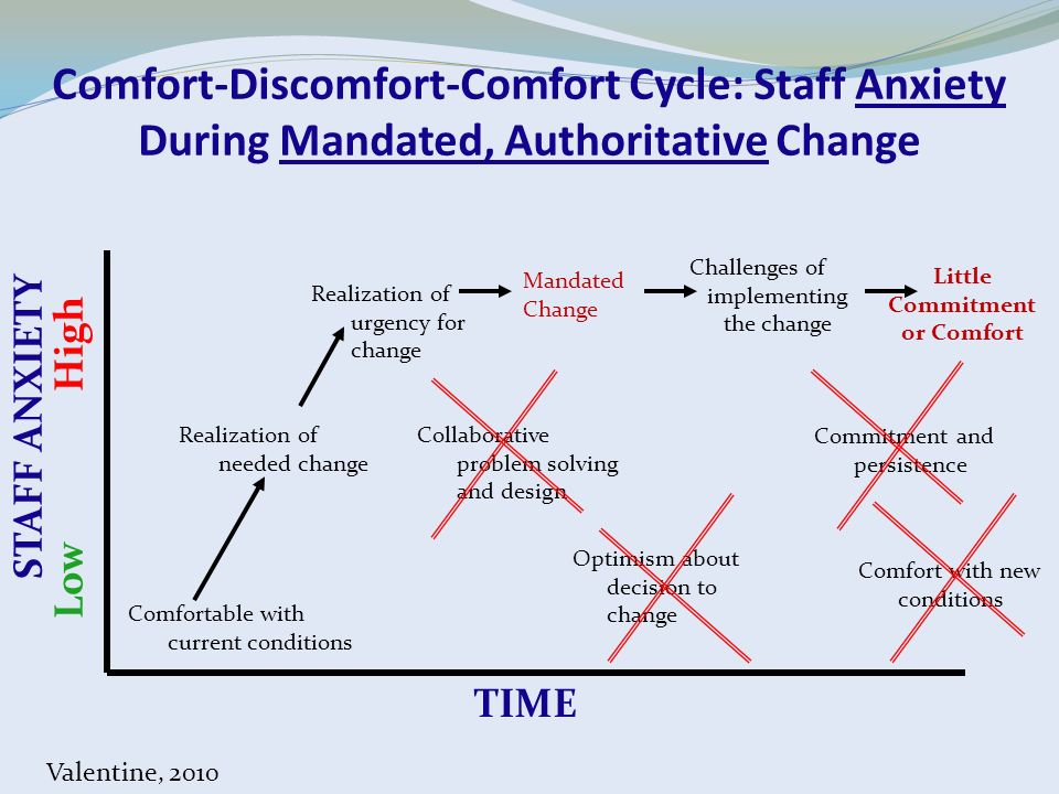 Comfort-Discomfort-Comfort Cycle: Staff Anxiety During Mandated, Authoritative Change Comfortable with current conditions Realization of needed change