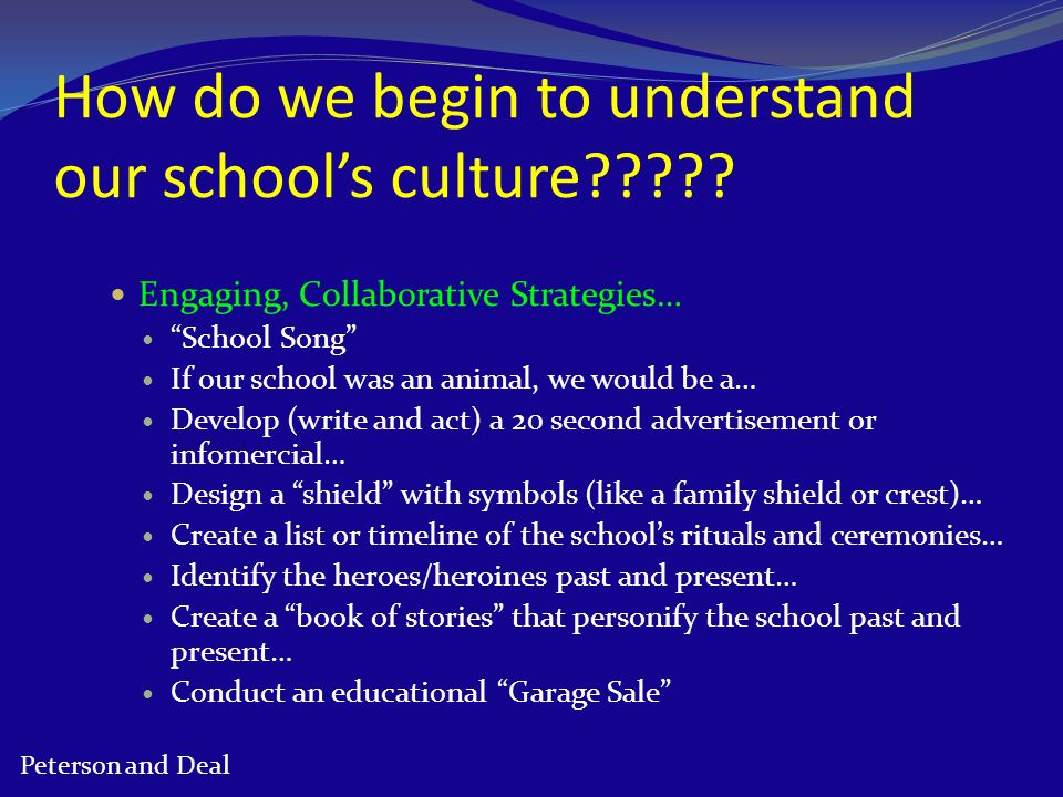 How do we begin to understand our schools culture????? Engaging, Collaborative Strategies… School Song If our school was an animal, we would be a… Dev