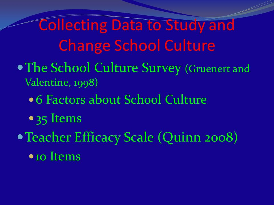 Collecting Data to Study and Change School Culture The School Culture Survey (Gruenert and Valentine, 1998) 6 Factors about School Culture 35 Items Te