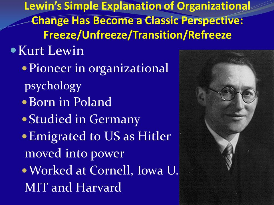 Lewins Simple Explanation of Organizational Change Has Become a Classic Perspective: Freeze/Unfreeze/Transition/Refreeze Kurt Lewin Pioneer in organiz