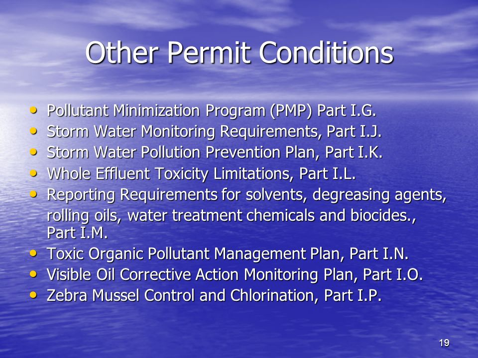 19 Other Permit Conditions Pollutant Minimization Program (PMP) Part I.G. Pollutant Minimization Program (PMP) Part I.G. Storm Water Monitoring Requir