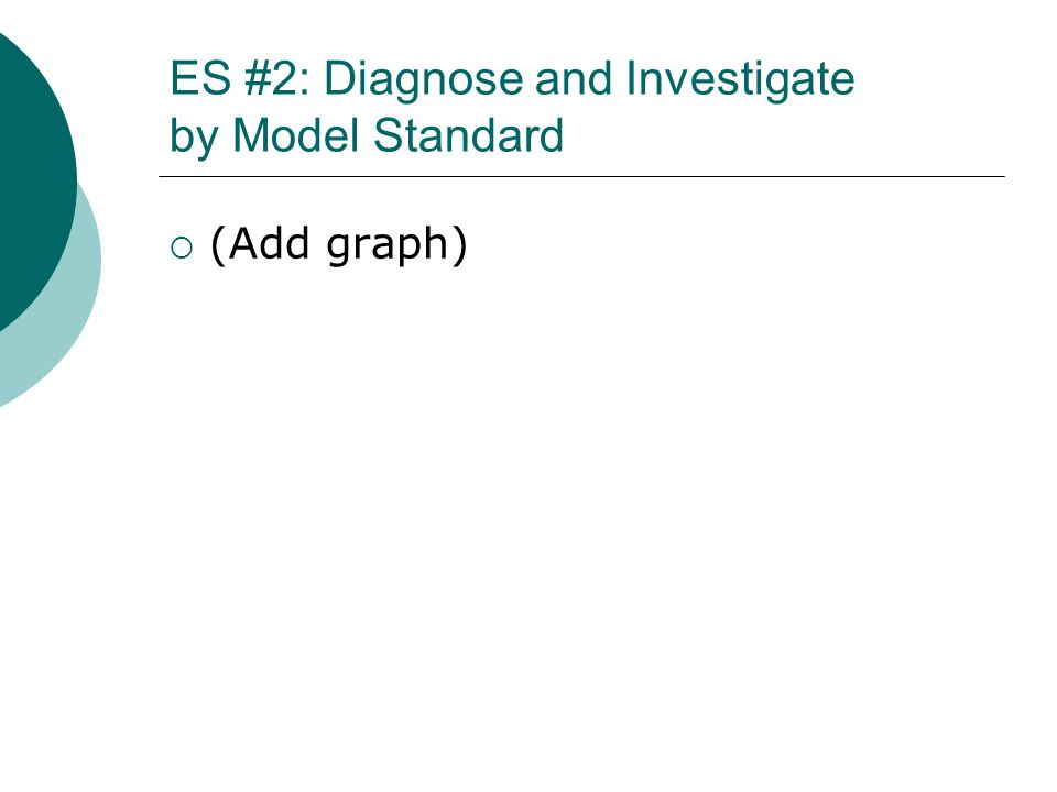 ES #2: Diagnose and Investigate by Model Standard (Add graph)
