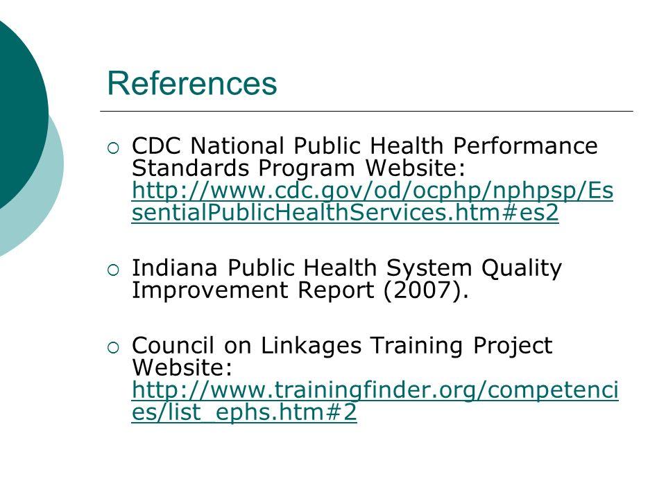 References CDC National Public Health Performance Standards Program Website: http://www.cdc.gov/od/ocphp/nphpsp/Es sentialPublicHealthServices.htm#es2