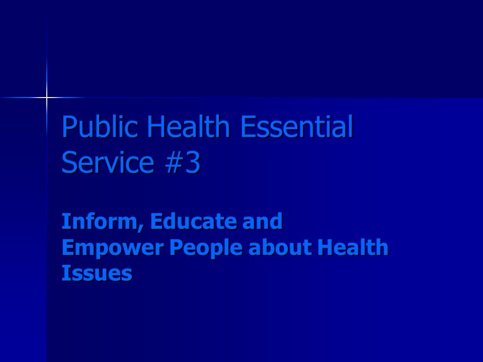 A little history… Three core functions (1988 IOM Report) Three core functions (1988 IOM Report) –Assessment –Policy Development –Assurance Core Functions Steering Committee (1994) Core Functions Steering Committee (1994) –Public Health in America statement