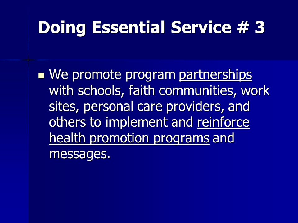 Doing Essential Service # 3 We promote program partnerships with schools, faith communities, work sites, personal care providers, and others to implem