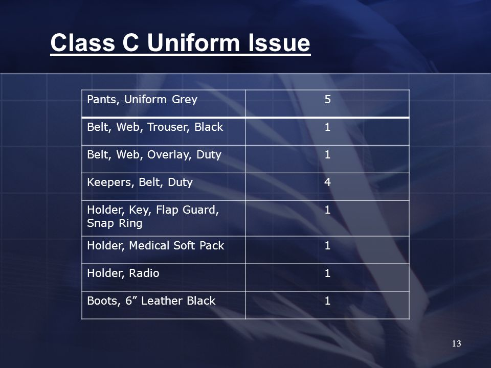 13 Class C Uniform Issue Pants, Uniform Grey5 Belt, Web, Trouser, Black1 Belt, Web, Overlay, Duty1 Keepers, Belt, Duty4 Holder, Key, Flap Guard, Snap Ring 1 Holder, Medical Soft Pack1 Holder, Radio1 Boots, 6 Leather Black1